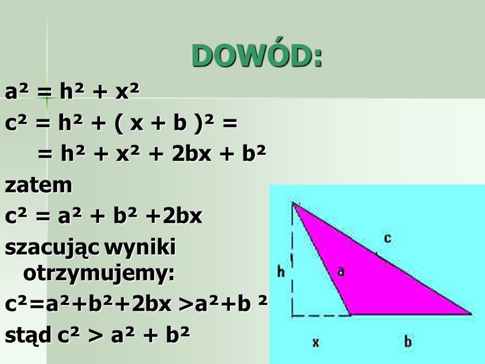 Kwadraty na bokach trójkąta rozwartokątnego: Jeżeli trójkąt jest rozwartokątny różnoboczny, to suma pól kwadratów zbudowanych na jego krótszych bokach jest mniejsza od pola kwadratu zbudowanego na najdłuższym boku.