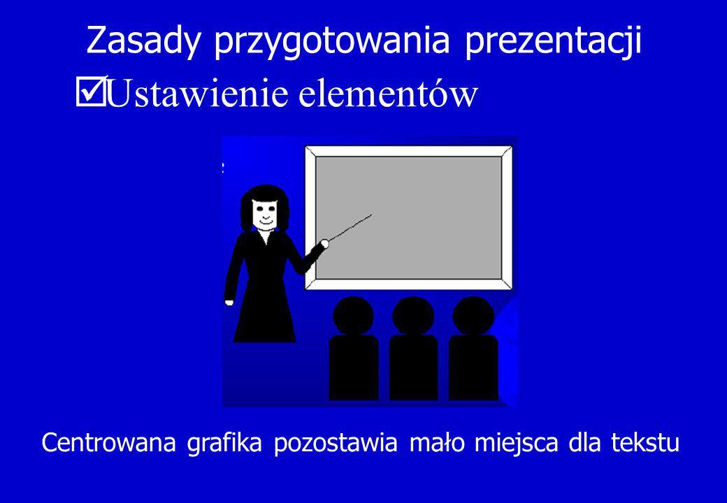 Zasady przygotowania prezentacji  Ustawienie elementów Centrowana grafika pozostawia mało miejsca dla tekstu