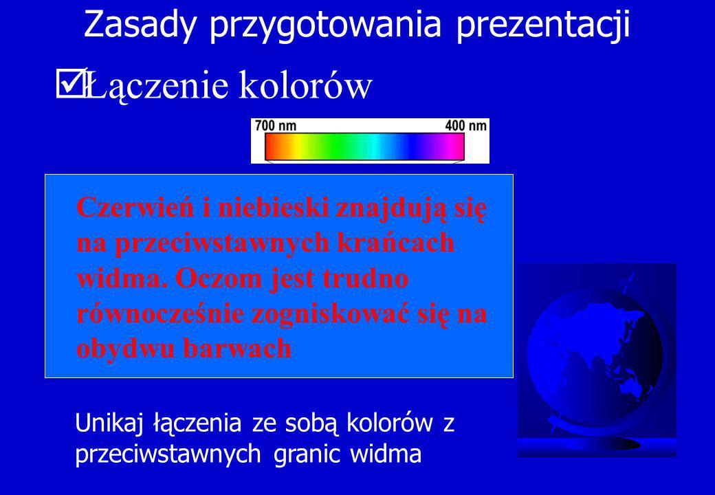 Zasady przygotowania prezentacji  Łączenie kolorów Unikaj łączenia ze sobą kolorów z przeciwstawnych granic widma Czerwień i niebieski znajdują się na przeciwstawnych krańcach widma.