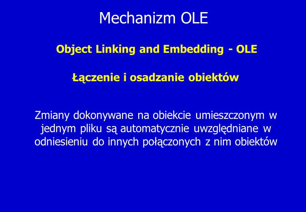 Mechanizm OLE Object Linking and Embedding - OLE Łączenie i osadzanie obiektów Zmiany dokonywane na obiekcie umieszczonym w jednym pliku są automatycznie uwzględniane w odniesieniu do innych połączonych z nim obiektów