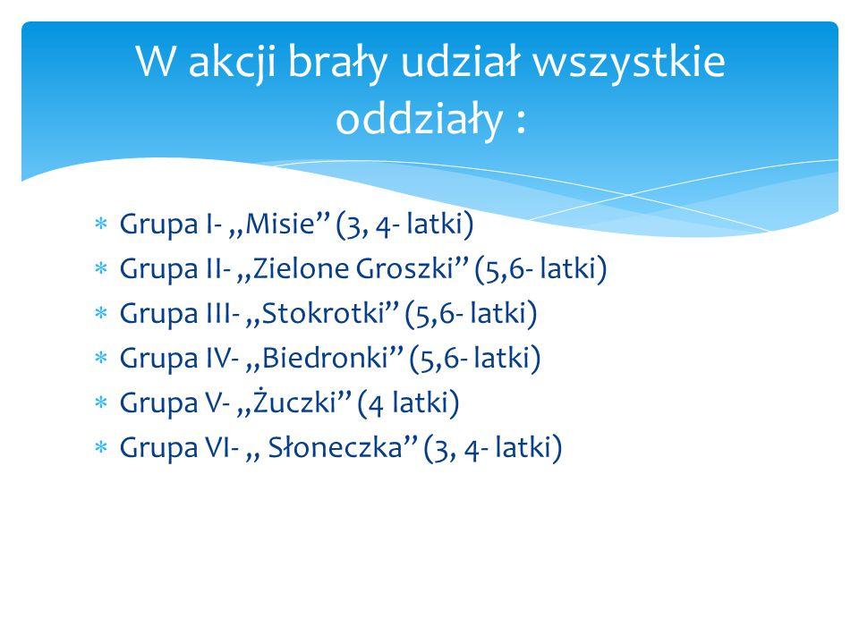 """ Grupa I- """"Misie (3, 4- latki)  Grupa II- """"Zielone Groszki (5,6- latki)  Grupa III- """"Stokrotki (5,6- latki)  Grupa IV- """"Biedronki (5,6- latki)  Grupa V- """"Żuczki (4 latki)  Grupa VI- """" Słoneczka (3, 4- latki) W akcji brały udział wszystkie oddziały :"""