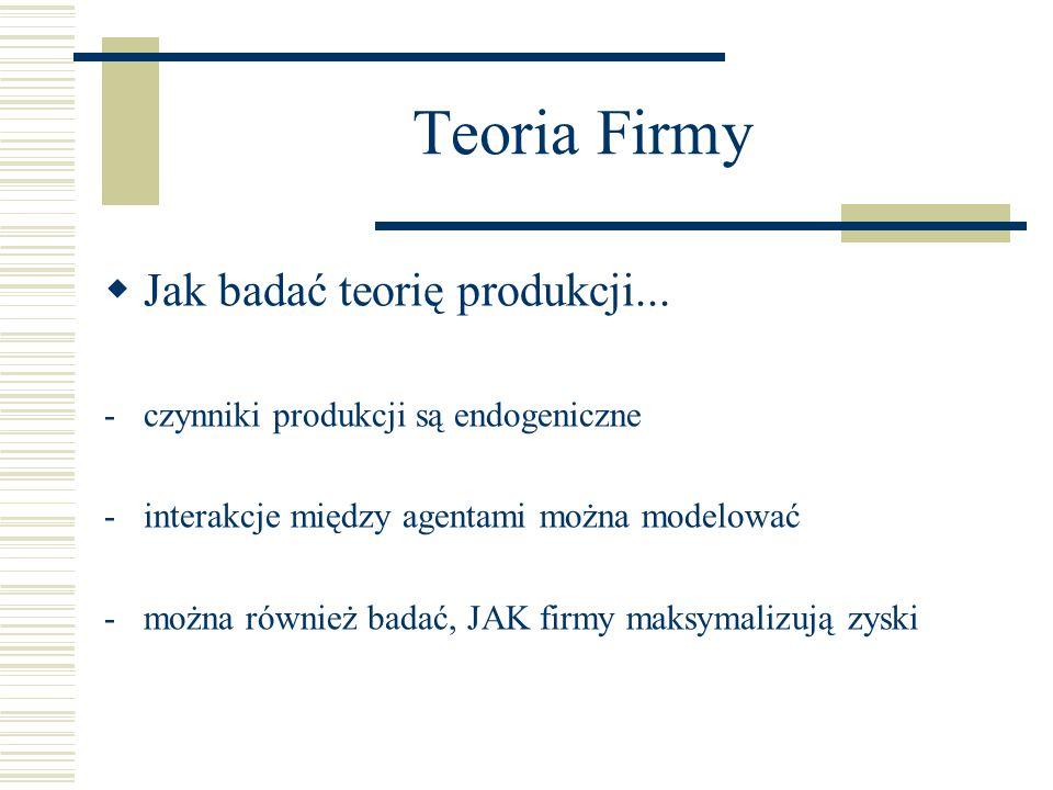 Teoria Firmy  Jak badać teorię produkcji...