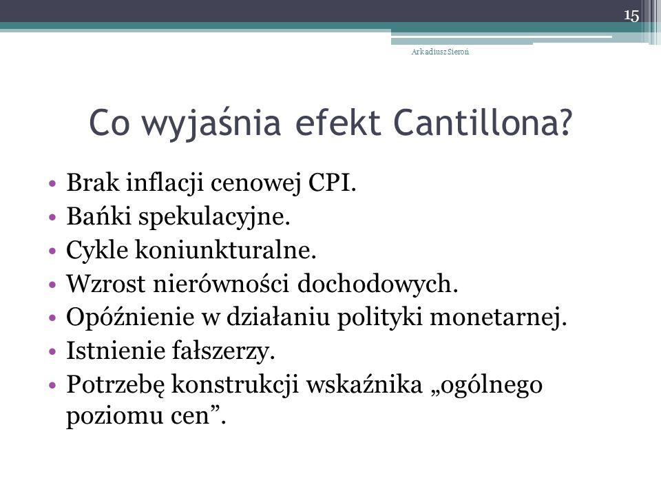 Co wyjaśnia efekt Cantillona? Brak inflacji cenowej CPI. Bańki spekulacyjne. Cykle koniunkturalne. Wzrost nierówności dochodowych. Opóźnienie w działa