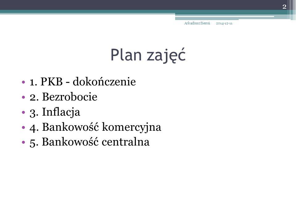 Plan zajęć 1. PKB - dokończenie 2. Bezrobocie 3. Inflacja 4. Bankowość komercyjna 5. Bankowość centralna 2014-12-11 2 Arkadiusz Sieroń