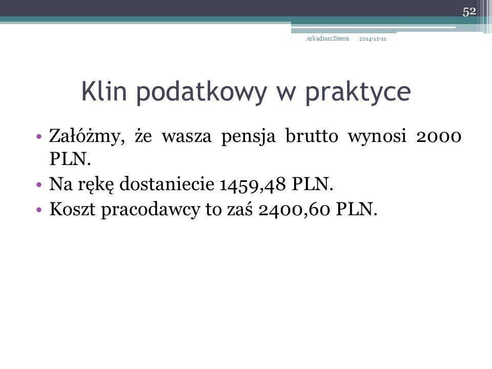 Załóżmy, że wasza pensja brutto wynosi 2000 PLN. Na rękę dostaniecie 1459,48 PLN. Koszt pracodawcy to zaś 2400,60 PLN. 2014-12-11Arkadiusz Sieroń 52 K