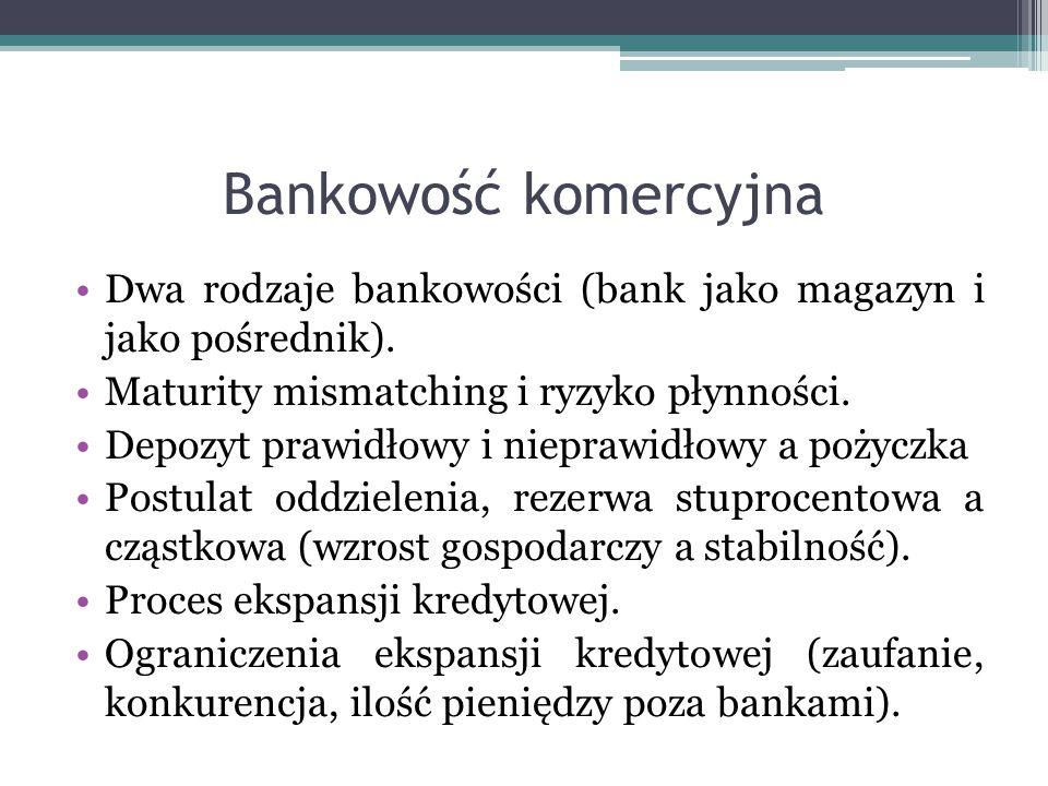 Bankowość komercyjna Dwa rodzaje bankowości (bank jako magazyn i jako pośrednik). Maturity mismatching i ryzyko płynności. Depozyt prawidłowy i niepra