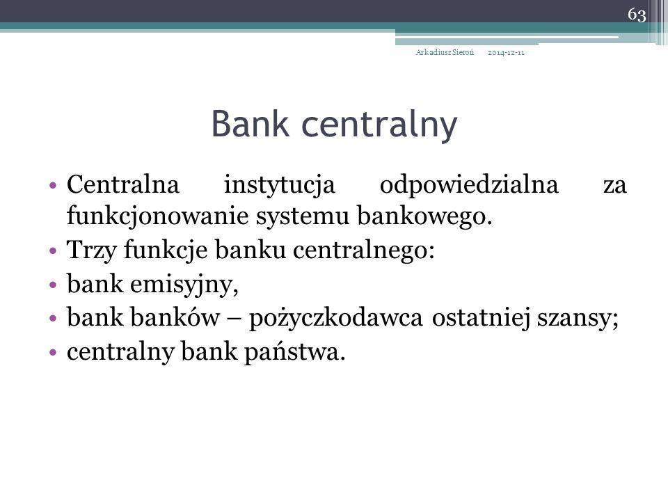 Centralna instytucja odpowiedzialna za funkcjonowanie systemu bankowego. Trzy funkcje banku centralnego: bank emisyjny, bank banków – pożyczkodawca os