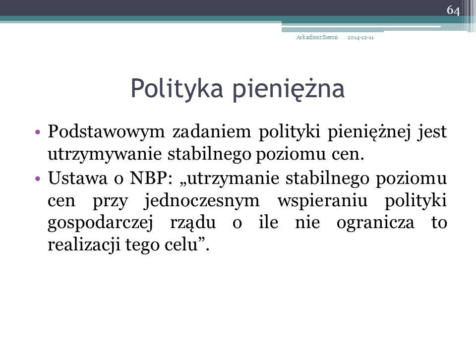 """Podstawowym zadaniem polityki pieniężnej jest utrzymywanie stabilnego poziomu cen. Ustawa o NBP: """"utrzymanie stabilnego poziomu cen przy jednoczesnym"""