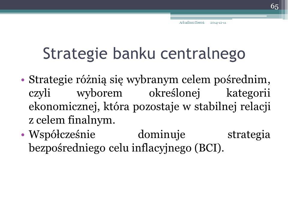 Strategie różnią się wybranym celem pośrednim, czyli wyborem określonej kategorii ekonomicznej, która pozostaje w stabilnej relacji z celem finalnym.