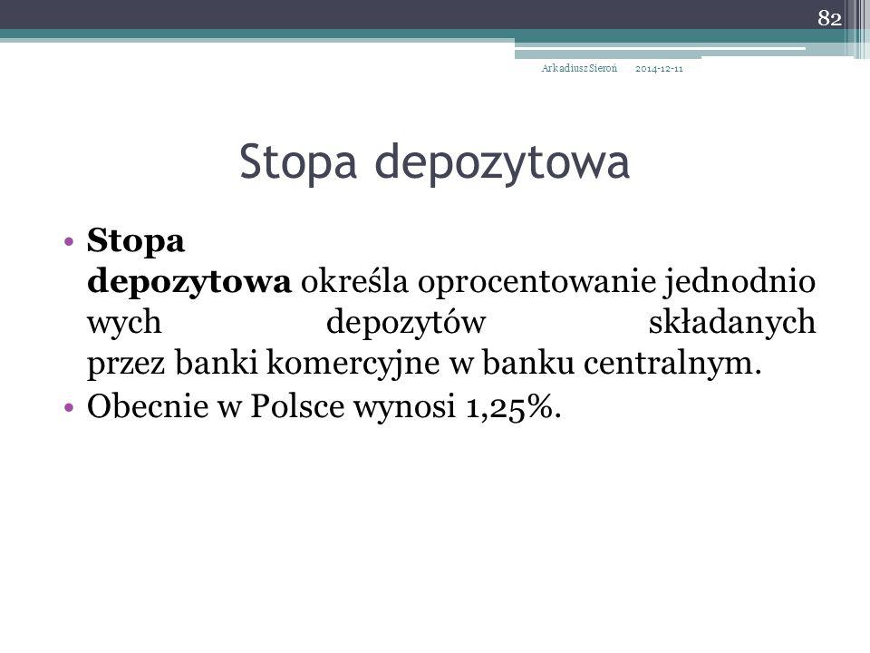 Stopa depozytowa określa oprocentowanie jednodnio wych depozytów składanych przez banki komercyjne w banku centralnym. Obecnie w Polsce wynosi 1,25%.