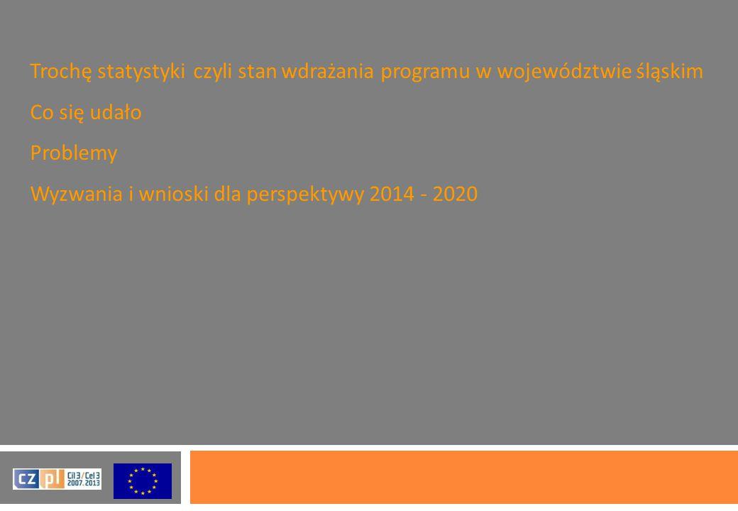 Trochę statystyki czyli stan wdrażania programu w województwie śląskim Co się udało Problemy Wyzwania i wnioski dla perspektywy 2014 - 2020