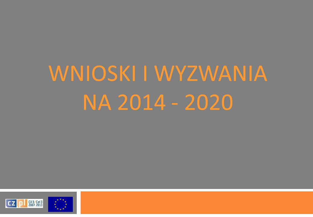 WNIOSKI I WYZWANIA NA 2014 - 2020