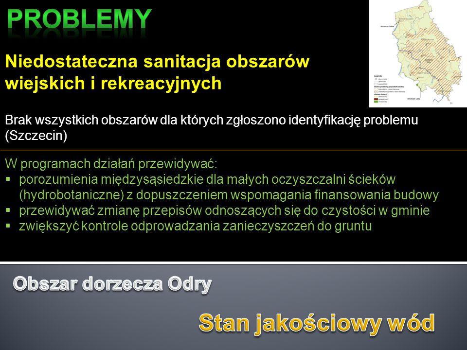 Niedostateczna sanitacja obszarów wiejskich i rekreacyjnych Brak wszystkich obszarów dla których zgłoszono identyfikację problemu (Szczecin) W program