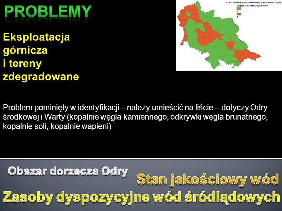 Eksploatacja górnicza i tereny zdegradowane Problem pominięty w identyfikacji – należy umieścić na liście – dotyczy Odry środkowej i Warty (kopalnie w