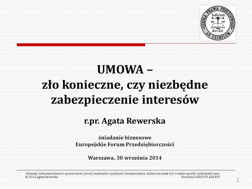 UMOWA – zło konieczne, czy niezbędne zabezpieczenie interesów r.pr.
