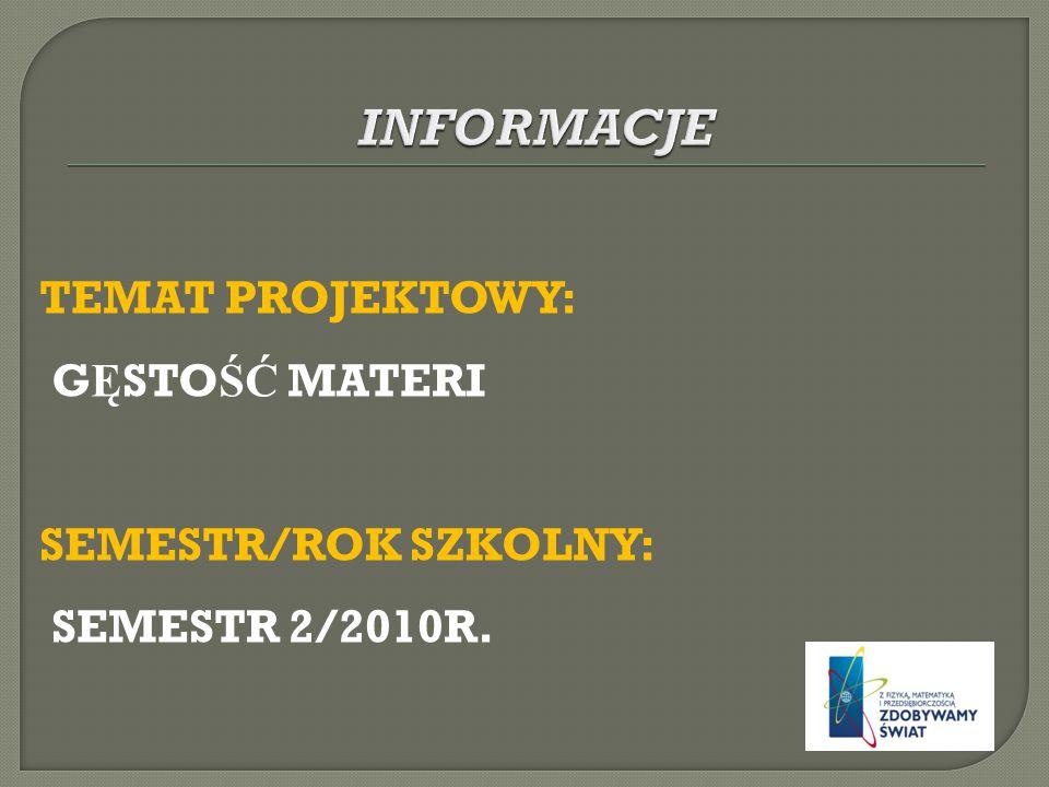TEMAT PROJEKTOWY: G Ę STO ŚĆ MATERI SEMESTR/ROK SZKOLNY: SEMESTR 2/2010R.