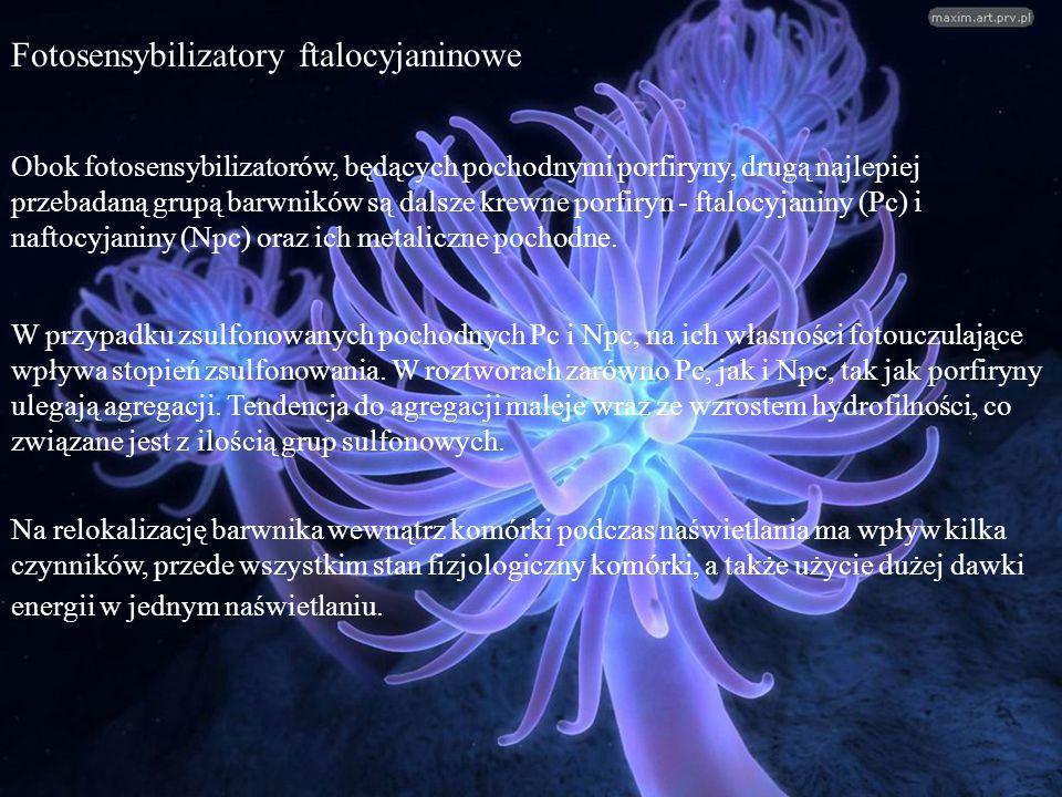 Fotosensybilizatory ftalocyjaninowe Obok fotosensybilizatorów, będących pochodnymi porfiryny, drugą najlepiej przebadaną grupą barwników są dalsze kre