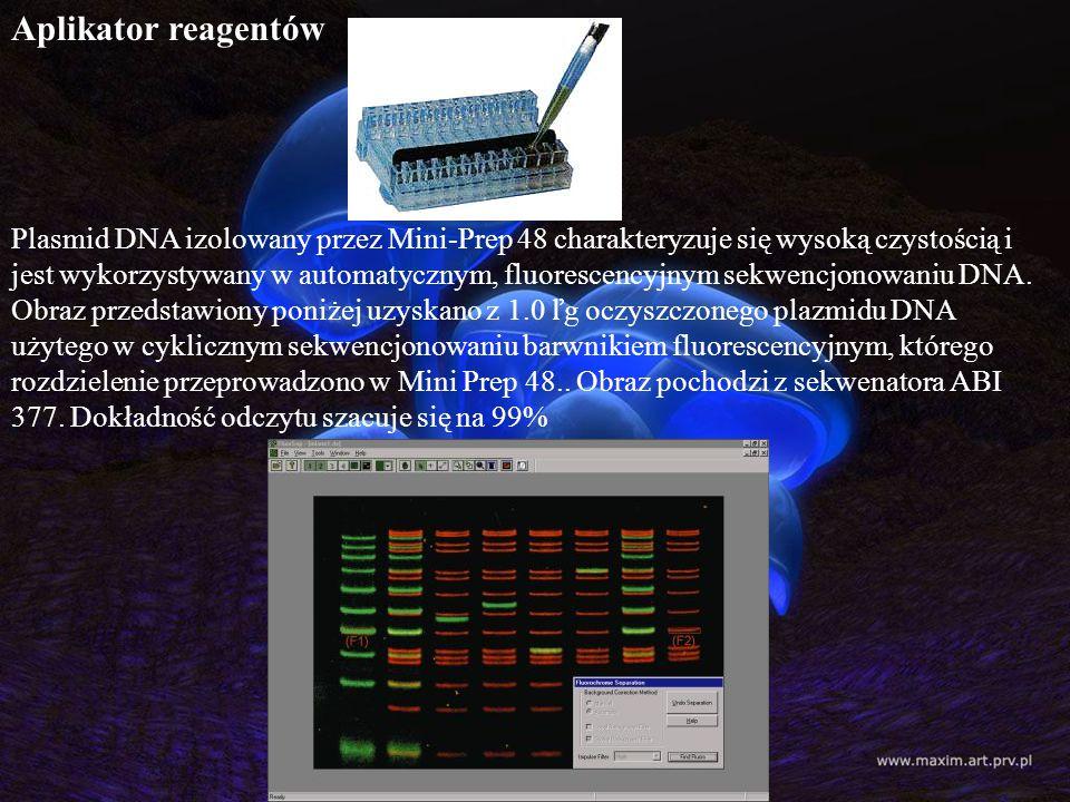 Aplikator reagentów Plasmid DNA izolowany przez Mini-Prep 48 charakteryzuje się wysoką czystością i jest wykorzystywany w automatycznym, fluorescencyj