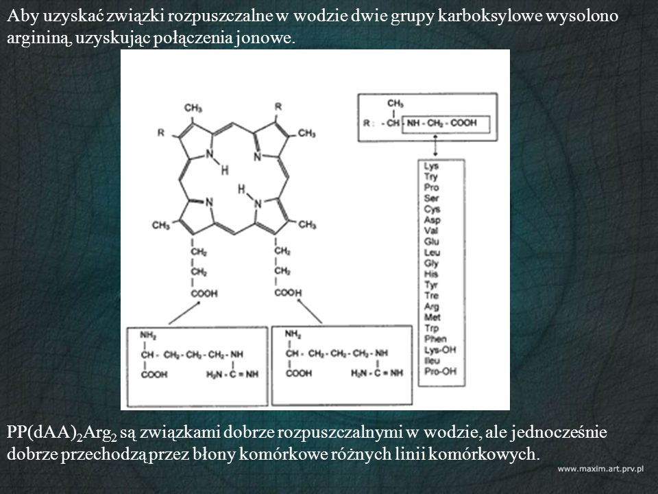 Aby uzyskać związki rozpuszczalne w wodzie dwie grupy karboksylowe wysolono argininą, uzyskując połączenia jonowe. PP(dAA) 2 Arg 2 są związkami dobrze
