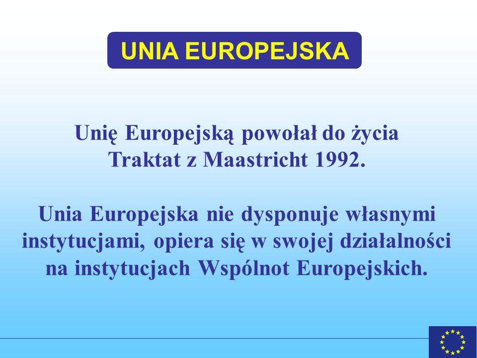 UNIA EUROPEJSKA a WSPÓLNOTY EUROPEJSKIE EWWiS Europejska Wspólnota Węgla i Stali Wspólnoty Europejskie (podmioty prawa międzynarodowego) EUROATOM Europejska Wspólnota Energii Atomowej Europejska Wspólnota Gospodarcza