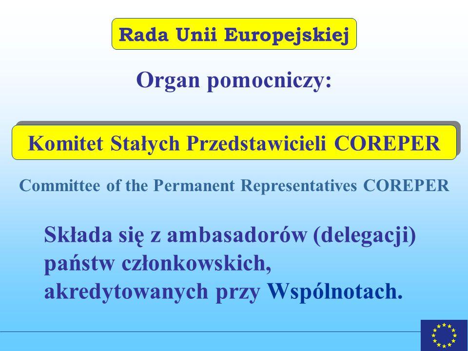 Rada Unii Europejskiej Organ pomocniczy: Committee of the Permanent Representatives COREPER Komitet Stałych Przedstawicieli COREPER Składa się z ambasadorów (delegacji) państw członkowskich, akredytowanych przy Wspólnotach.