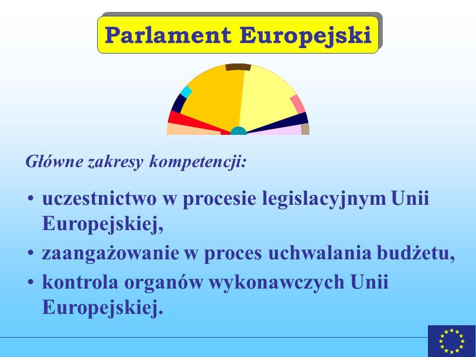 Parlament Europejski Główne zakresy kompetencji: uczestnictwo w procesie legislacyjnym Unii Europejskiej, zaangażowanie w proces uchwalania budżetu, kontrola organów wykonawczych Unii Europejskiej.
