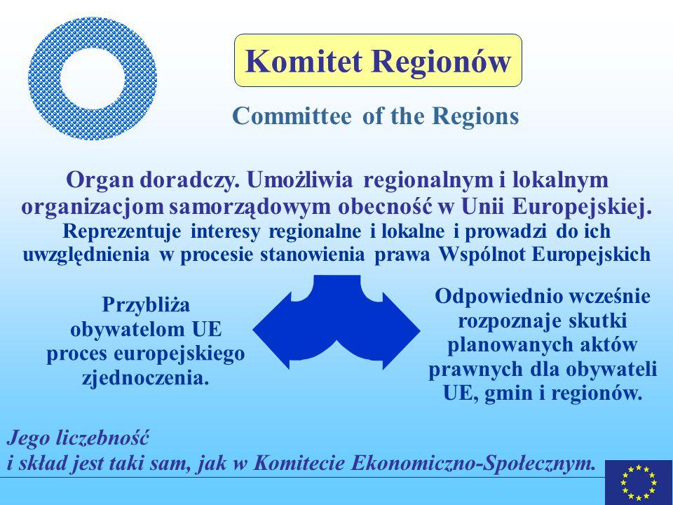 Komitet Regionów Committee of the Regions Organ doradczy.