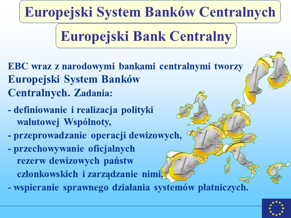 Europejski Bank Centralny Europejski System Banków Centralnych EBC wraz z narodowymi bankami centralnymi tworzy Europejski System Banków Centralnych.