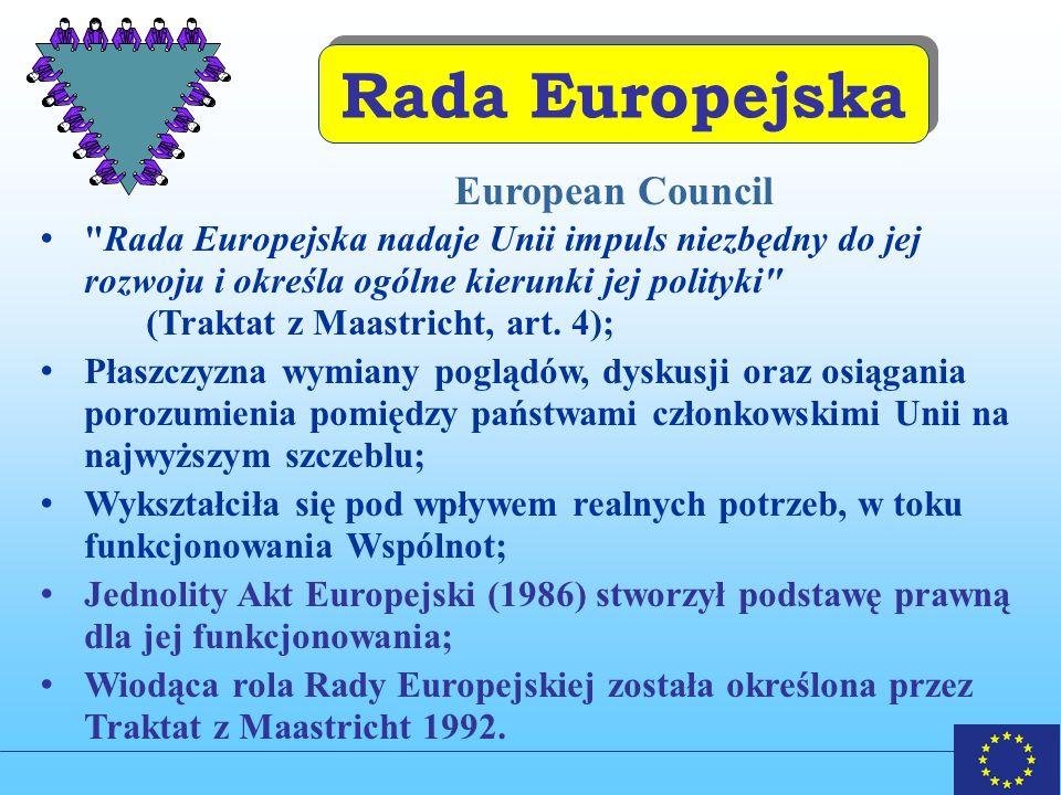 Rada Europejska Rada Europejska nadaje Unii impuls niezbędny do jej rozwoju i określa ogólne kierunki jej polityki (Traktat z Maastricht, art.