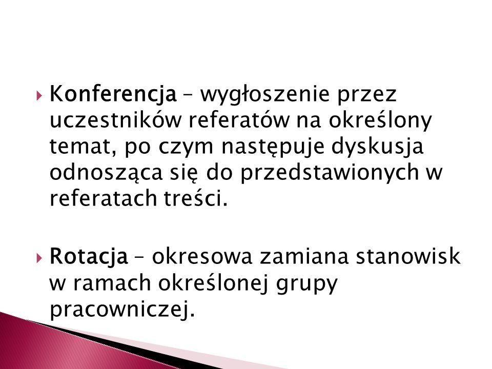  Konferencja – wygłoszenie przez uczestników referatów na określony temat, po czym następuje dyskusja odnosząca się do przedstawionych w referatach treści.
