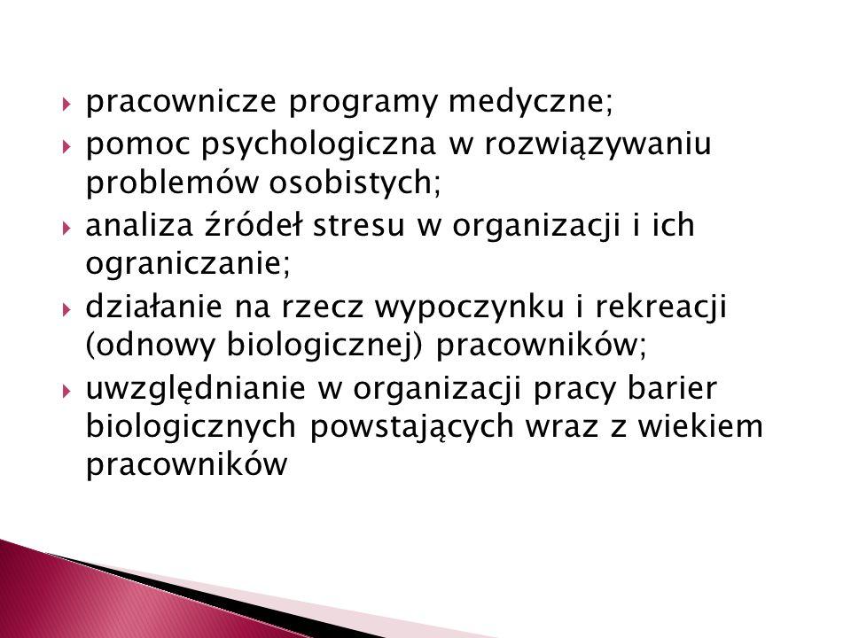  pracownicze programy medyczne;  pomoc psychologiczna w rozwiązywaniu problemów osobistych;  analiza źródeł stresu w organizacji i ich ograniczanie;  działanie na rzecz wypoczynku i rekreacji (odnowy biologicznej) pracowników;  uwzględnianie w organizacji pracy barier biologicznych powstających wraz z wiekiem pracowników