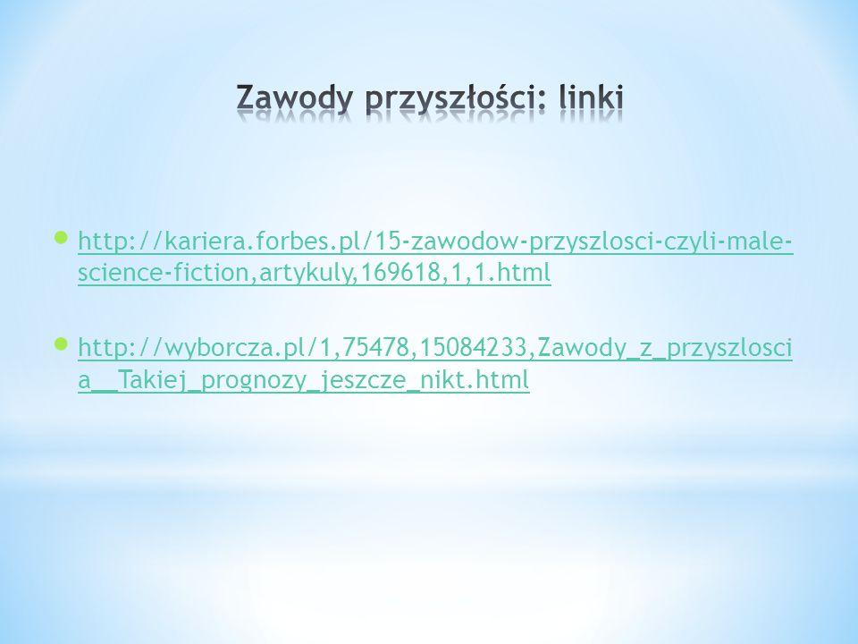 http://kariera.forbes.pl/15-zawodow-przyszlosci-czyli-male- science-fiction,artykuly,169618,1,1.html http://kariera.forbes.pl/15-zawodow-przyszlosci-czyli-male- science-fiction,artykuly,169618,1,1.html http://wyborcza.pl/1,75478,15084233,Zawody_z_przyszlosci a__Takiej_prognozy_jeszcze_nikt.html http://wyborcza.pl/1,75478,15084233,Zawody_z_przyszlosci a__Takiej_prognozy_jeszcze_nikt.html