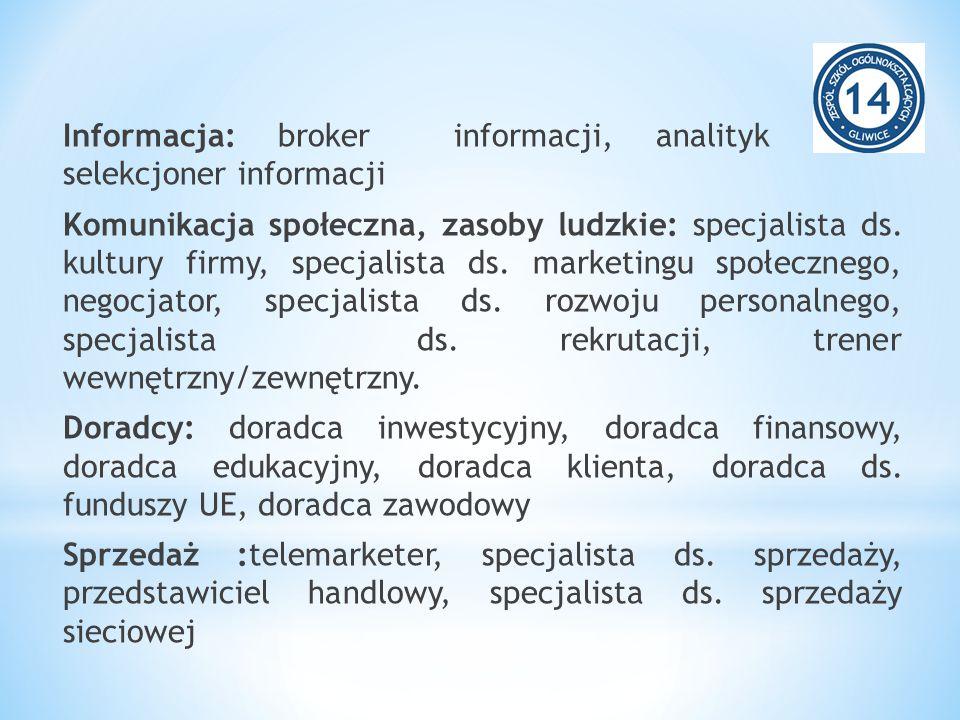 Informacja: broker informacji, analityk rynku, selekcjoner informacji Komunikacja społeczna, zasoby ludzkie: specjalista ds. kultury firmy, specjalist