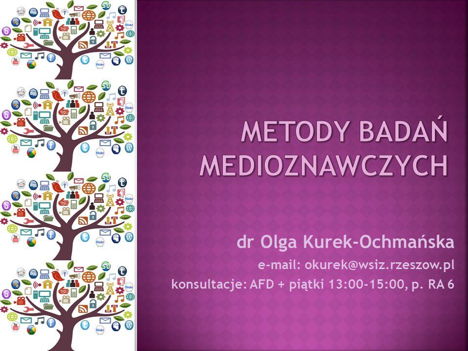 dr Olga Kurek-Ochmańska e-mail: okurek@wsiz.rzeszow.pl konsultacje: AFD + piątki 13:00-15:00, p. RA 6