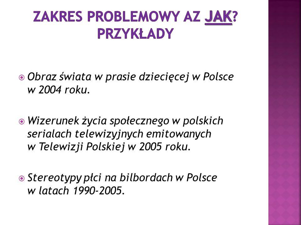  Obraz świata w prasie dziecięcej w Polsce w 2004 roku.  Wizerunek życia społecznego w polskich serialach telewizyjnych emitowanych w Telewizji Pols