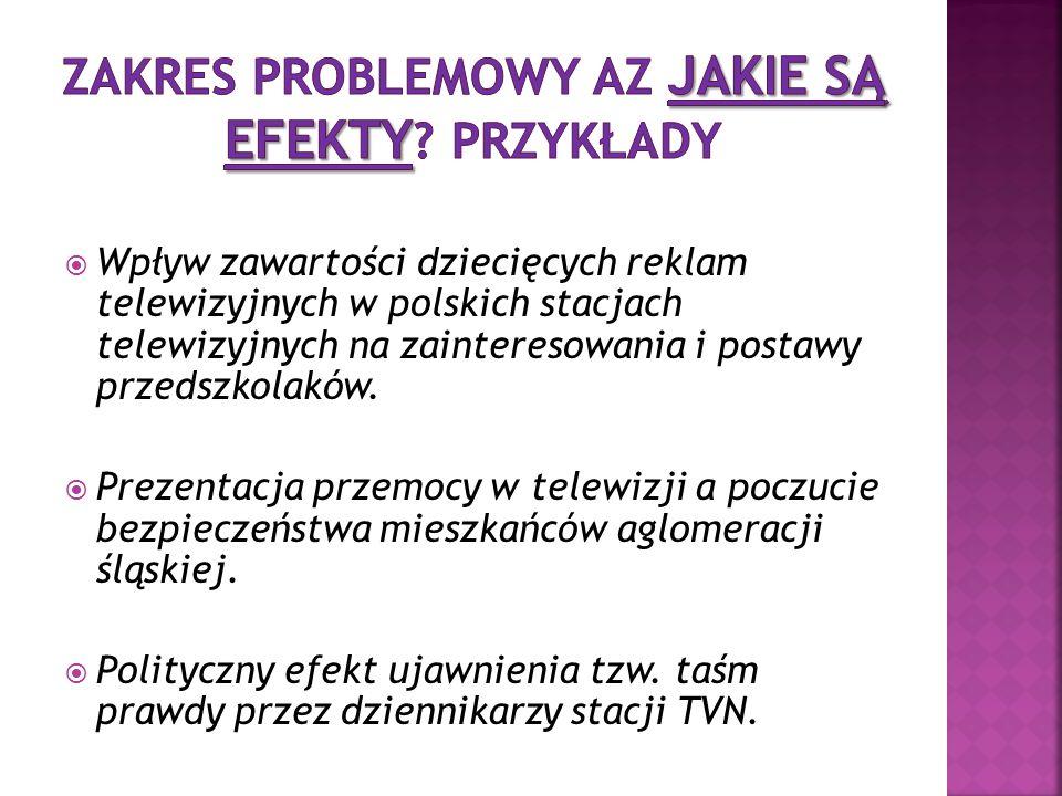  Wpływ zawartości dziecięcych reklam telewizyjnych w polskich stacjach telewizyjnych na zainteresowania i postawy przedszkolaków.  Prezentacja przem