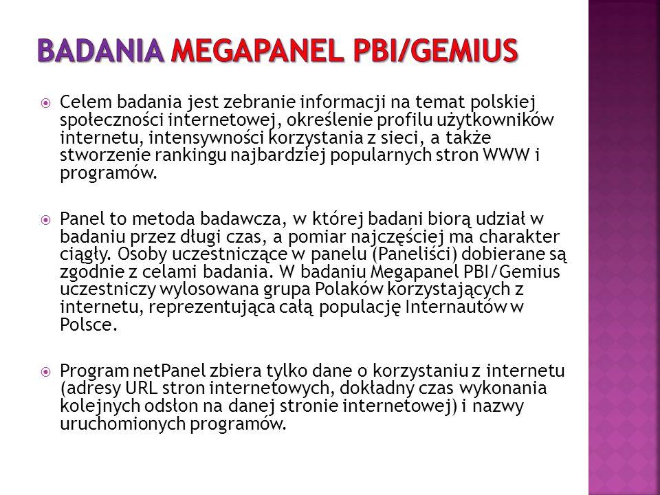  Celem badania jest zebranie informacji na temat polskiej społeczności internetowej, określenie profilu użytkowników internetu, intensywności korzyst