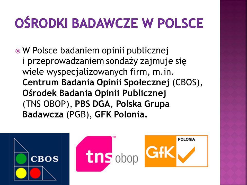  W Polsce badaniem opinii publicznej i przeprowadzaniem sondaży zajmuje się wiele wyspecjalizowanych firm, m.in. Centrum Badania Opinii Społecznej (C