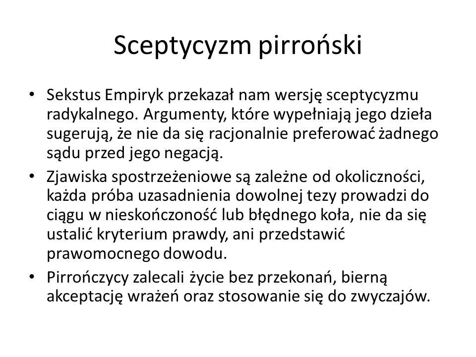 Sceptycyzm pirroński Sekstus Empiryk przekazał nam wersję sceptycyzmu radykalnego. Argumenty, które wypełniają jego dzieła sugerują, że nie da się rac