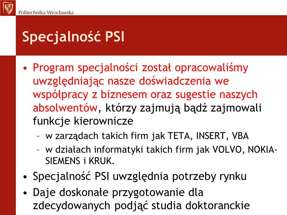 Specjalność PSI Program specjalności został opracowaliśmy uwzględniając nasze doświadczenia we współpracy z biznesem oraz sugestie naszych absolwentów