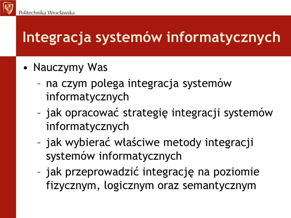 Integracja systemów informatycznych Nauczymy Was –na czym polega integracja systemów informatycznych –jak opracować strategię integracji systemów info