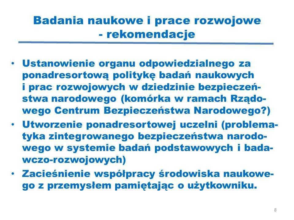 Badania naukowe i prace rozwojowe - rekomendacje Ustanowienie organu odpowiedzialnego za ponadresortową politykę badań naukowych i prac rozwojowych w