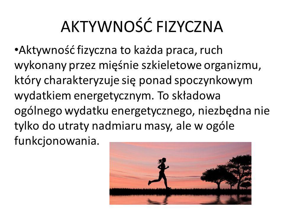 AKTYWNOŚĆ FIZYCZNA Aktywność fizyczna to każda praca, ruch wykonany przez mięśnie szkieletowe organizmu, który charakteryzuje się ponad spoczynkowym w