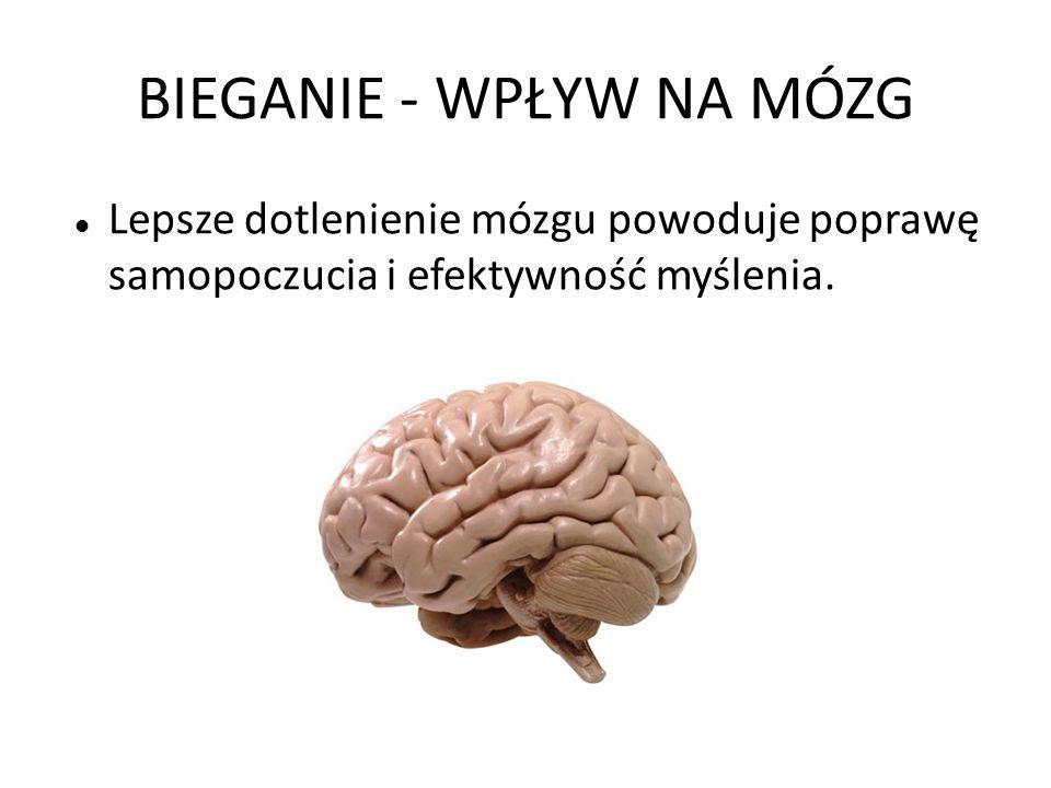 BIEGANIE - WPŁYW NA MÓZG Lepsze dotlenienie mózgu powoduje poprawę samopoczucia i efektywność myślenia.