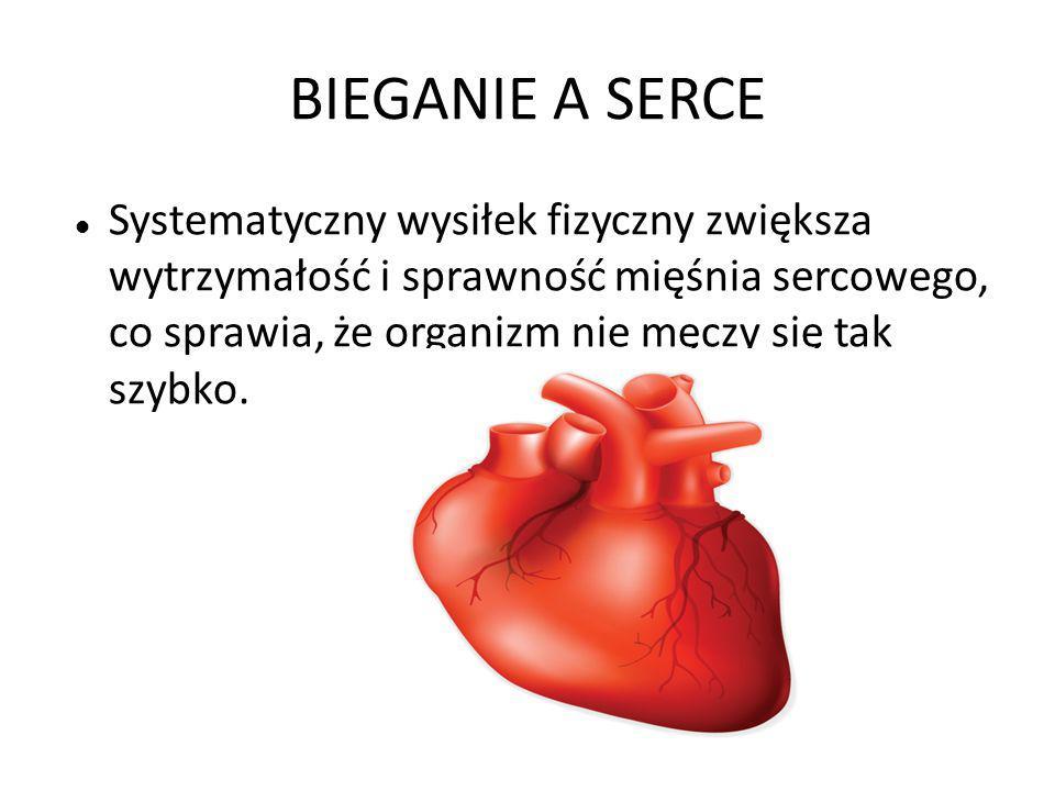 BIEGANIE A SERCE Systematyczny wysiłek fizyczny zwiększa wytrzymałość i sprawność mięśnia sercowego, co sprawia, że organizm nie męczy się tak szybko.