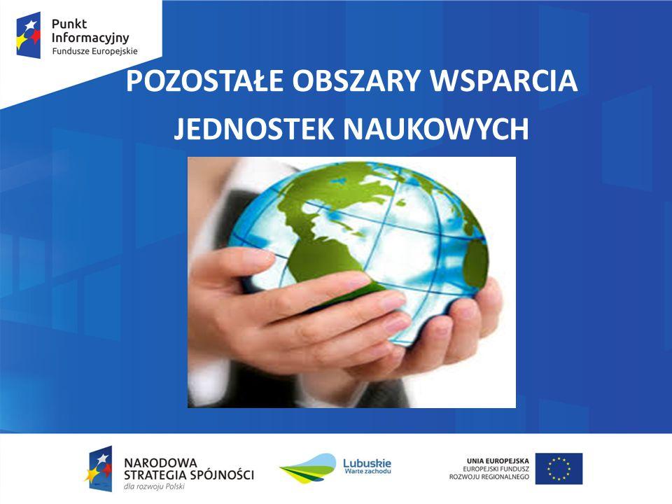 Pozostałe obszary wsparcia - POIŚ Oś Priorytetowa II Ochrona środowiska, w tym adaptacja do zmian klimatu PI 5.2 Wspieranie inwestycji ukierunkowanych na konkretne rodzaje zagrożeń przy jednoczesnym zwiększeniu odporności na klęski i katastrofy i rozwijaniu systemów zarządzania klęskami i katastrofami Obszary wsparcia – działania wspierające: rozwój systemów wczesnego ostrzegania i prognozowania zagrożeń wsparcie systemu monitorowania środowiska działania informacyjno – edukacyjne dotyczące zmian klimatu i adaptacji tworzenie bazy wiedzy w zakresie zmian klimatu i adaptacji do nich Forma wsparcia i obszar realizacji: dotacje bezzwrotne charakter horyzontalny i dotyczy całego kraju – zgodnie z dok.
