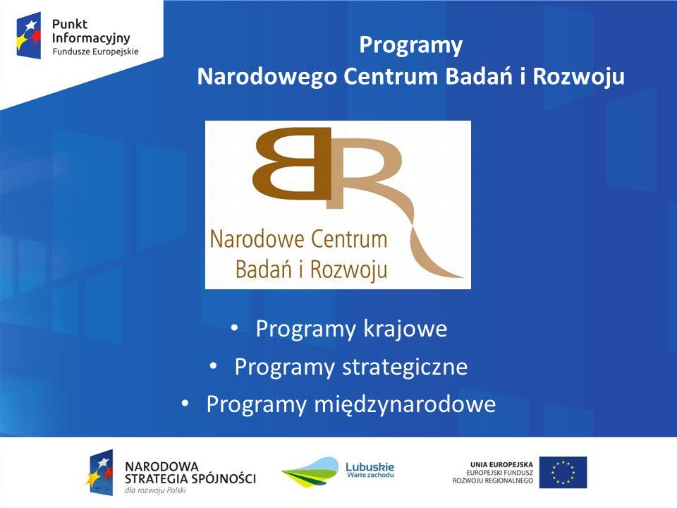 Programy Narodowego Centrum Badań i Rozwoju Programy krajowe Programy strategiczne Programy międzynarodowe