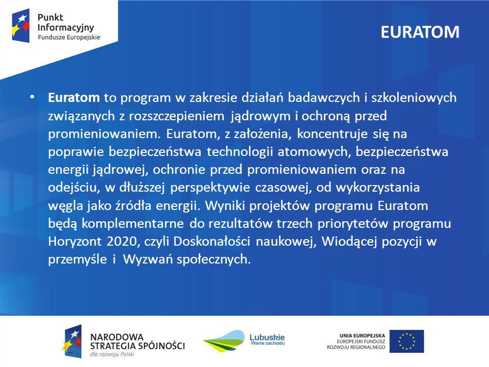 EURATOM Euratom to program w zakresie działań badawczych i szkoleniowych związanych z rozszczepieniem jądrowym i ochroną przed promieniowaniem.