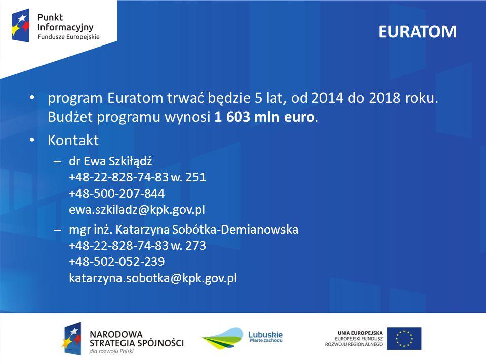 EURATOM program Euratom trwać będzie 5 lat, od 2014 do 2018 roku.