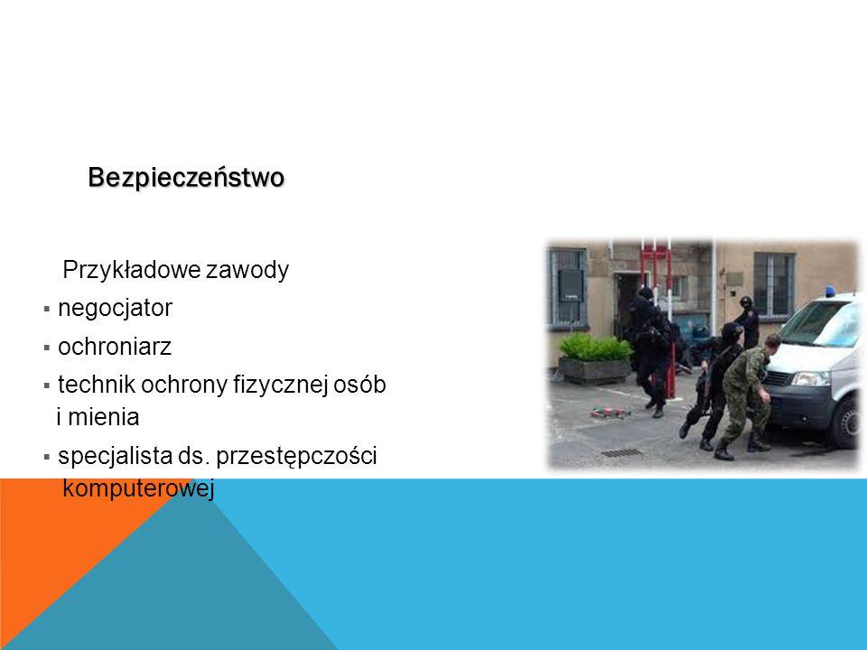 Bezpieczeństwo Przykładowe zawody  negocjator  ochroniarz  technik ochrony fizycznej osób i mienia  specjalista ds.